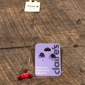 Sterling silver red earrings w/ red bug charm